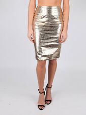 AQ/AQ Aqua by Aqua Gold Faux Leather Shiny Appear Knee Length Skirt NEW 6 10
