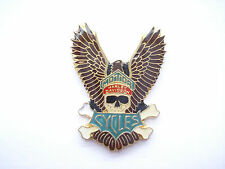 SALE RARE VINTAGE HARLEY DAVIDSON MOTORCYCLES PIRATE SKULL WINGS BIKE PIN BADGE