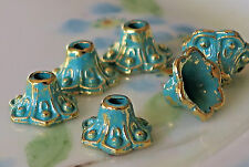 #700SA Patina Bead Caps Deco Cone Gold Unique Artsy 8x5mm Antiqued Green
