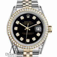 Ladies Rolex Stainless Steel - Gold 26mm Datejust Black Color Diamond Dial Watch