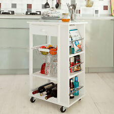 SoBuy® Kitchen Trolley Cart with Side Shelves Removable Basket,FKW12-W, White,UK