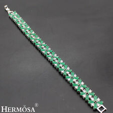 75% OFF Hermosa® 2016 Autumn New Green Emerald .925 Sterling Silver Bracelet 7""