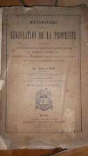 Dictionnaire de la législation de la propriété concernant la construction, la mi
