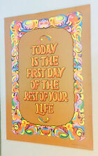 Vintage Black light poster Today is the first day of the rest of your life 1970