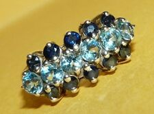"~VTG~""925""~STERLING~SILVER~BLUE~SAPPHIRE & TOPAZ~ORNATE~3-ROW~RING~SIZE 6~SIGNED"