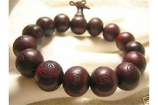 Big Stretch Tibetan 15 15mm Rosewood Carved Buddha Prayer Beads Mala Bracelet 7""