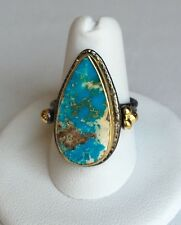 Turquoise Gemstone Ring Turkish Jewelry Handmade Adjustable Antique Silver Gold