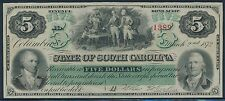 SC #S3323 STATE OF SO. CAROLINA $5 MARCH 2,1872 OBSOLETE BANKNOTE GEM UNC BS9182