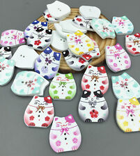 DIY 20X Wooden buttons Sewing Scrapbooking Cat pattern Mixed Colors button 25mm
