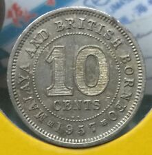 1957KN Malaya QEll 10 cents  coin scare high grade