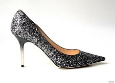 new $795 JIMMY CHOO Agnes black silver GLITTER pointy toe ombre heel shoes 38 8