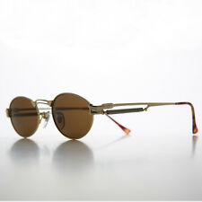 Gothic Steampunk Victorian Oval Vintage Sunglasses Gold/Brown NOS- MAXWELL