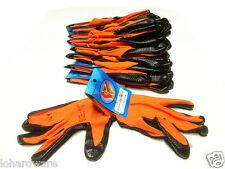 12 pair Unisex Worker Orange Rubber Coated Industry Working Protective Gloves