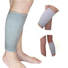 Grey Elasticated Calf  Shin Support Compression Brace Sleeve Guard