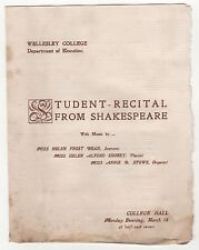 1900s WELLESLEY COLLEGE SHAKESPEARE Student Recital Program HELEN FROST BEAN