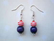 CUTE NAVY BLUE & RED WHITE STRIPE WOOD BEAD NAUTICAL Earrings SP Sailor Jerry