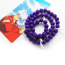 Anime Inuyasha cosplay necklace purple beads & dog teeth Inuyasha necklace!