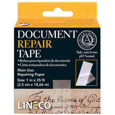 """Document Repair Tape, 1""""X35 Ft. Acid Free Thin but Strong! Transparent  (bin502)"""