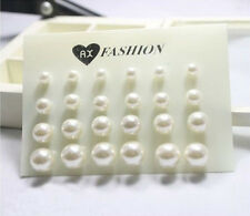 Lot 12 Pairs Cruncher Designs Fashion Artificial White Pearl Earrings New  XICA