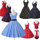 UK CHEAP Vintage 50s 60 Party Polka Dot Swing Pinup Retro VTG Dress 1