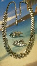 Nice Vintage Silver Tone Necklace and Earring Set - Signed Coro