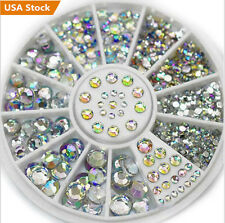 400Pcs Nail Art Rhinestones Glitter Diamond Gems 3D Tips DIY Decoration Wheel US