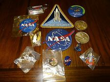 13 PIECES OF NASA SPACE CENTER / SHUTTLE LOT OF PATCHES & PINS **SUPER NICE**
