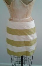 J Crew Green Cream Awning Stripe Linen Mini Skirt Sz 10