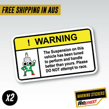 WARNING SUSPENSION x2 JDM CAR STICKER DECAL Drift Turbo Euro Fast Vinyl #0611