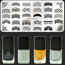 5Pcs/Set French Nail Art Stamp Plate Stainless Steel Template & Stamping Polish