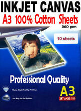 Inkjet Canvas 10 sheets of A3 100% Cotton Ink jet printing canvas media 360gsm