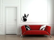 "WALL - Banksy - Recording Rat - Wall Vinyl Decal (20""w x 22""h) (BLACK)"