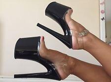 Women's Exotic Dancer Shoes Pleaser Taboo 708 Clear Sandal Black Platform Fetish