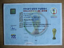 2002 World Cup FIFA Official Ticket Certificate TST-6F ITALY EXCELLENT CONDITION