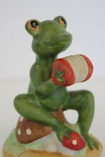 "Vintage Lefton China Hand Painted Green Frog Playing a Concertina #02266 3"" Tall"