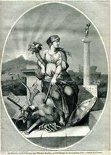 La Sicurezza. Sécurité.Cornucopia. Stampa Antica Allegorica + Passepartout.1849