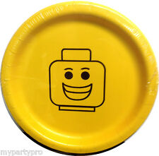 Lego inspired, Block Head Smiley Face Dinner Plates Birthday Party Supplies