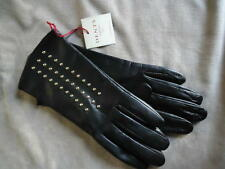 BNWT DENTS ladies black leather gloves with stud embellishment Large UK 7.5