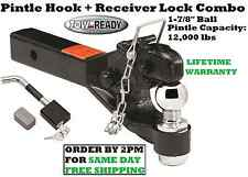 """TOW READY PINTLE HOOK 12000 lbs & 1-7/8"""" BALL & RECEIVER LOCK 2"""" HITCH RECEIVERS"""