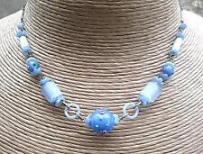 Feminine Edwardian Powder Blue Satin & Venetian Glass Necklace