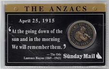 GB - UK The Anzacs April 25th 1915 Medal issued with Sunday Mail soft Wallet