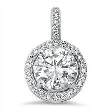 Halo Round Solitaire Cubic Zirconia .925 Sterling Silver Pendant