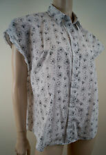 & OTHER STORIES VIKA GAZINSKAYA White & Black Dandelion Print Cap Sleeve Blouse