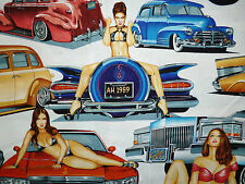 CLEARANCE FQ PIN UP GIRLS WOMEN RETRO CARS FABRIC ALEXANDER HENRY