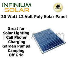 20w 20 Watts Infinium 12V Battery Charging Solar Panel LED, Fence, Pump, RV Boat