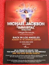 MICHAEL JACKSON THE IMMORTAL WORLD TOUR CIRQUE DU SOLEIL 2012 FLYER