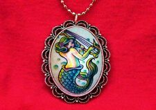 MERMAID PIN UP GIRL TATTOO HOOK FISH PENDANT NECKLACE