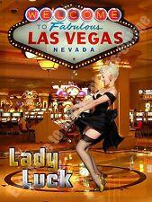 Femme Chance,Las Vegas Casino,Pin up Fille,Vacances,Annonce,Large Métal/