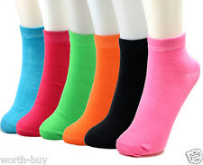 New 6 Pairs Womens Girls Ankle Socks Multi Neon Colors 9-11 Fashion Cotton Solid