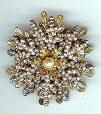 VINTAGE SIGNED MIRIAM HASKELL LARGE BAROQUE SEED PEARL PIN BROOCH